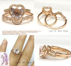 $729: Heart morganite engagement ring with pave diamond halo and curved matching band contour to the ring.