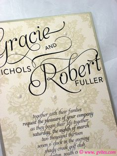 Capturing the exquisite elegance of #Frenchlace, this #wedding #invitation is designed in gold and beige with black script....