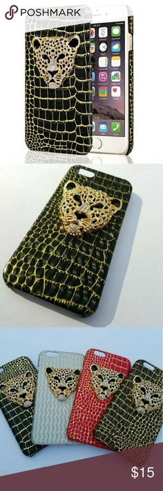 iPhone Black gold diamond bling cheetah case Glamorous iphone case! With such beautiful details like the black PU leather (animal cruelty free!) Lined with gold to really make the case POP! The crystal studded pendant on the back of a fierce golden cheetah really makes the case! It also features an open side design to make for easy access to all your buttons and ports! You don't have to sacrifice fashion for practicality again!   Available for: IPhone 5, 5s, se, 6, 6s, 6 plus, 6s plus…