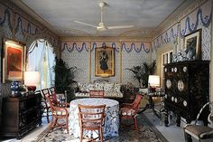 INSPIRATION: Valentino's home in Rome by Renzo Mongiardino. MULTIPURPOSE SUNPORCH/DINING ROOM/SITTING ROOM