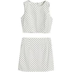 Choies Dots Print Crop Top with Pencil Skirt ($27) ❤ liked on Polyvore featuring skirts, dresses, tops, two pieces, white, dot skirt, white pencil skirt, white knee length pencil skirt, crop skirt and white polka dot skirt