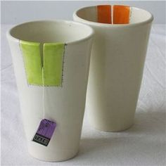 Cup with a tea bag slit . I love it, don& forget to pull the slit away from you . - Cup with a tea bag slit … I love it, don& forget to pull the slit away from you … - Ceramic Cups, Ceramic Pottery, Ceramic Art, Slab Pottery, Pottery Art, Ceramics Pottery Mugs, Slab Ceramics, Thrown Pottery, Pottery Painting