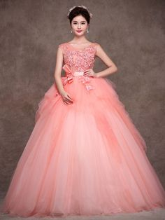 Blush Pink Quinceanera Tulle Ball Gown Home Coming Prom Dress | JoJos