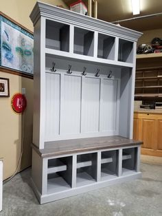 This hall tree mudroom cabinet is 60 Entryway Closet, Entryway Bench Storage, Bench With Storage, Entry Bench, Shoe Storage, Storage Ideas, Hall Closet, Basement Storage, Garage Storage