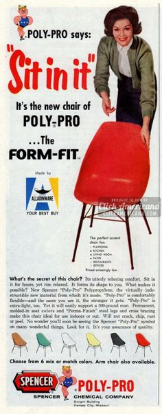 Colorful Poly-Pro Form-Fit accent chairs (1961)