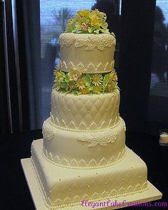 Quilting & Lace Wedding Cake | by Elegant Cake Creations AZ