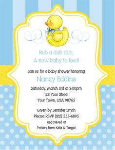 show invitations duck | BSI33 Baby Shower Invitation - Rubber Duck