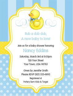 Show Invitations Duck Bsi33 Baby Shower Invitation Rubber