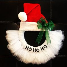 Santa Hat Tulle Wreath by fromrags2wreaths on Etsy, $35.00