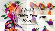 Colourful wedding flowers featuring orange and purple flowers all handmade from paper. Please get in touch to book your flower consultation. Purple Ribbon, Purple Flowers, Paper Peonies, Forever Flowers, Paper Flowers Wedding, Wedding Fair, Flowers For You, Orange And Purple, Maid Of Honor