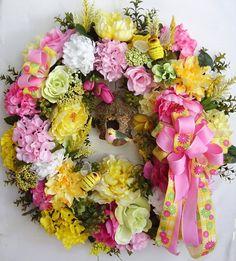 Spring Wreath, Easter Wreath, Mothers Day Wreath, Summer Wreath, Bird Wreath, Bumble Bee Wreath, Wedding Wreath