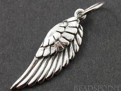 Sterling Silver Wing Charm / Pendant with Jump Ring by Beadspoint, $6.99