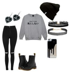 """Emo sweater"" by chelcymiagriffin ❤ liked on Polyvore featuring Topshop, Dr. Martens, Vans, Azalea, Witch Worldwide and Humble Chic"