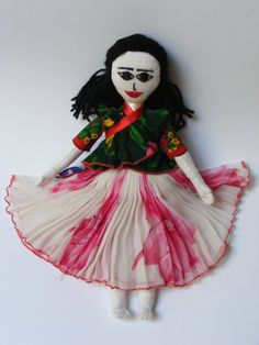 Colorful Roma (Gypsy) dolls - $35 - these lovely hand-sewn dolls, produced in a Roma family shop, are 35 cm tall. Crafted with textured linen, yarn, muslim, and satin, these dolls are clothed in removable, traditional Roma dress. Hand Sewn, Muslim, Gypsy, Satin, Craft Ideas, Colorful, Traditional, Dolls, Disney Princess