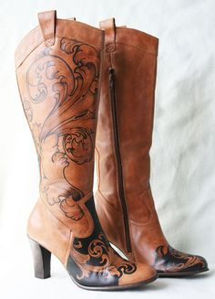 Hand painted tan Florence & Fred Boots  custom by AngelBlueArt, $135.00