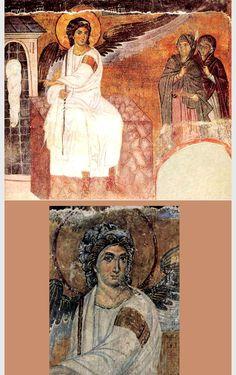 Vrouwen en engel bij het graf van Christus ~ ca. 1230 ~ Fresco ~ Kloosterkerk van Mileseva in Naos, Servië