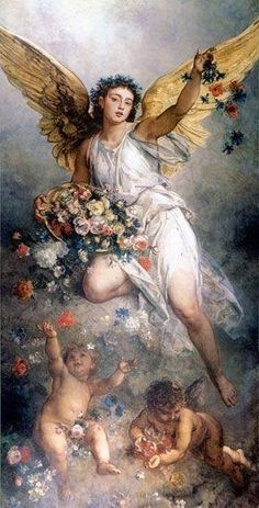 """""""Der Frieden (Eirene)""""/ """"Peace"""", by Ludwig Knaus Oil on canvas… Renaissance Kunst, I Believe In Angels, Ange Demon, Angels Among Us, Angels In Heaven, Heavenly Angels, Ludwig, Guardian Angels, Classical Art"""