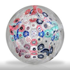 Antique New England Glass Company faceted millefiori with rabbit canes on lace paperweight.