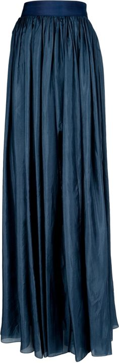 Petrol blue silk maxi skirt from Lanvin featuring a high waist with a wide ribbon fastening at the side, a gathered draped effect throughout, a curved slit to the front and a straight hem.