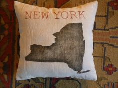 New York Silhouette Pillow Marking Your City by redbirdvintagehome, $22.00