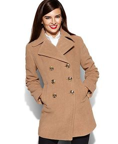 kate spade new york TanKhaki Faux Fur Flip Pocket Pea Coat | Pea ...