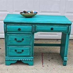 Patina Green Vintage Desk/ Turquoise/ Vanity/ Bedroom Furniture/ TV Stand/ Storage/ Distressed/ Rustic from AquaXpressions on Etsy Green Distressed Furniture, Distressed Desk, Bedroom Desk, Girls Bedroom, Bedroom Furniture, Diy Furniture, Furniture Projects, Painted Furniture, Repurposed Furniture