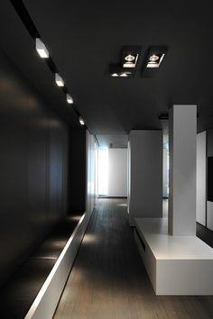 Creative Space Paris, Kreon lights showroom designed by Minus Interior Architects Corridor Lighting, Lighting Logo, Lighting Showroom, Cool Lighting, Lighting Design, Ceiling Design, Wall Design, House Design, Showroom Design