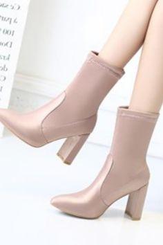 195df38b0e9 Silk Fabric Chunky Heel Slip-On Women s Ankle Boots