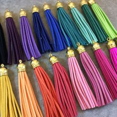 "3"" Assorted Suede Leather Tassels with Gold Cap - Measuring 12mm x 80mm, Approx. - Over 20 Different Colors Available! - Sold Individually"