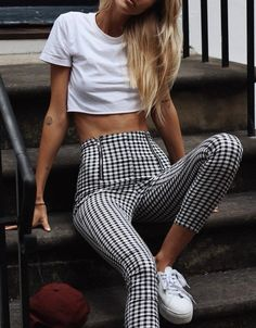 high waist, mid calf (capri) checker pants + white t-shirt crop top + sneakers + hair down and straight