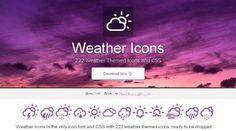 222 Icônes thématiques Météo - Weather Icons  Weather Icons est une police de caractères composés de 222 icônes météorologiques de très bonnes qualités idéale pour les projets ou la météo prend une place importante.  http://www.noemiconcept.com/index.php/fr/departement-communication/news-departement-com/206950-webdesign-222-ic%C3%B4nes-th%C3%A9matiques-m%C3%A9t%C3%A9o-weather-icons.html