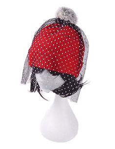 D-ling Vintage Fine Knit Beanie Pom Pom Hat with Dot Tulle Face Veil ( 2e25c616603