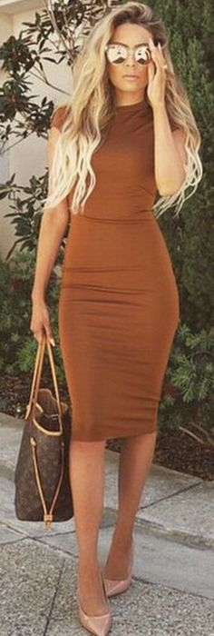 Desi Perkins Camel Fitted Dress Fall Inspo