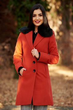 StarShinerS bricky elegant coat from wool arched cut with inside lining fur collar Detachable Collar, Fur Collars, Line, November, Raincoat, Buttons, Pockets, Warm, Elegant