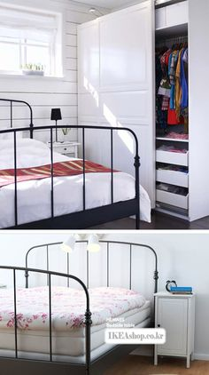 Wrought Iron bed for guest room Painted Iron Beds, Black Iron Beds, Wrought Iron Beds, Steel Bed, Comfy Bed, Black Bedding, House Built, Bed Styling, Cozy House