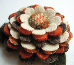Plaid posy flower pin from felted wool. I love the fabric-covered button in the center.