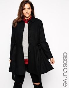 Enlarge ASOS CURVE Exclusive Fit & Flare Coat With Belted Waist