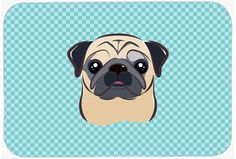 Checkerboard Blue Fawn Pug Mouse Pad, Hot Pad or Trivet BB1200MP