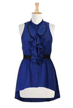 button-front, colorblock, crepe, fall, festive, mandarin-collar, mid-thigh-length, polyester, ruched, sleeveless
