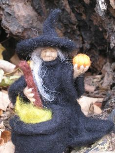 Handmade Needle Felted Wool Witch Halloween Decoration. $60.00, via Etsy.