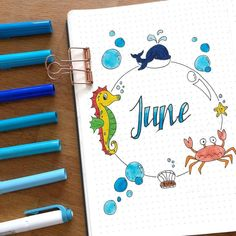 """if you are looking for gorgeous ocean bullet journal layout inspiration you are coming to the right place! We have collected over 50 gorgeous ocean bullet journal spreads, including a """"how-to"""" video and. Bullet Journal June, Bullet Journal Monthly Spread, Bullet Journal Ideas Pages, Bullet Journal Layout, Bullet Journal Inspiration, Journal Pages, Bullet Journals, Hello June, Sea Theme"""