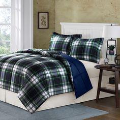 Comfort Classics Parkston Mini Comforter Set in Navy & Plaid