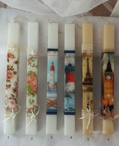 Scented candles greek easter candles Handmade easter candles Greek orthodox crafts easter candles travel candles shabby chic candles marine by eAGAPIcom on Etsy Shabby Chic Candle, Decoupage, Orthodox Easter, Square Candles, Baptism Candle, Greek Easter, Godparent Gifts, Handmade Candles, Candle Lanterns