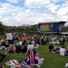 Viewing park filled with spectators on first full day of Olympic competition. #NBCOlympics