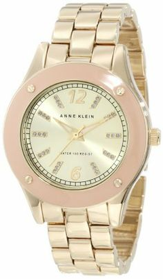 Anne Klein Women's 10/9806TNGB Tan Resin Bezel Gold-Tone Bracelet Watch Anne Klein. $65.00