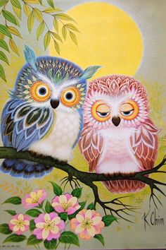 K Chin OWL Couple Art Print Poster Litho USA by VintagePaperology