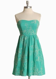 "Sicilian Summer Strapless Dress 52.99 at shopruche.com. This charming cotton dress in teal features cream floral embroidery, a full skirt, and subtle  gathers at the waist for a flattering fit. Elasticized ruched detail at the back completes the dress.  Shell: 100% Cotton, Lining 2: 100% Polyester, Imported, 28"" length from waist"