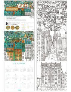 Fantastic Cities Foldable Long Paper Coloring Book For Adult Gift DIY Fun Art