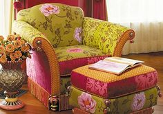 green and fuschia chair