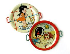 Toy Platters, Set of 2 Tin Toys by sushipotvintage on Etsy